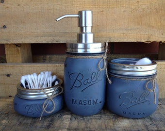 Painted Mason Jars. Mason Jar Bathroom Set. Bathroom Decor. Home Decor. Soap Dispenser. Rustic, Vintage Looking. Shabby Chic. Gift.