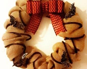Wreath, Black, Orange, Chevron, Burlap Halloween Wreath