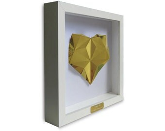 Framed Personalised Origami Gold Heart - 50th Wedding Anniversary Gift