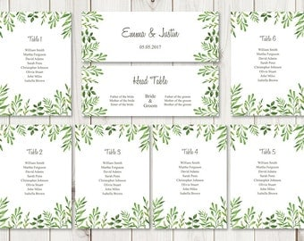 """Watercolor Wedding Seating Chart Template """"Lovely Leaves"""", Green. DIY Printable Seating List & Header Sign. MS Word Files, Instant Download."""