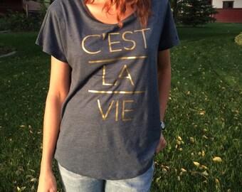 Dolman. Dolman top. Cest la vie. C'est La Vie. Dolman shirt. Dolman sleeve. Dolman Sleeve Top. Dolman French Tee. C'est la vie shirt.