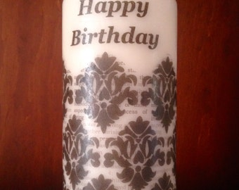 Damask Printed Black & White Vanilla Scented Tall Pillar Candle, Unique Handmade gift,