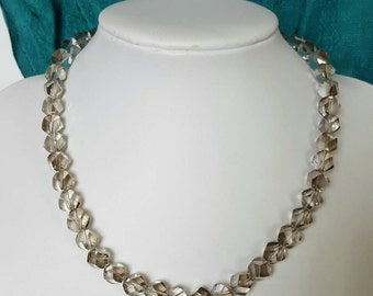 Retro styled clear faceted crystal necklace