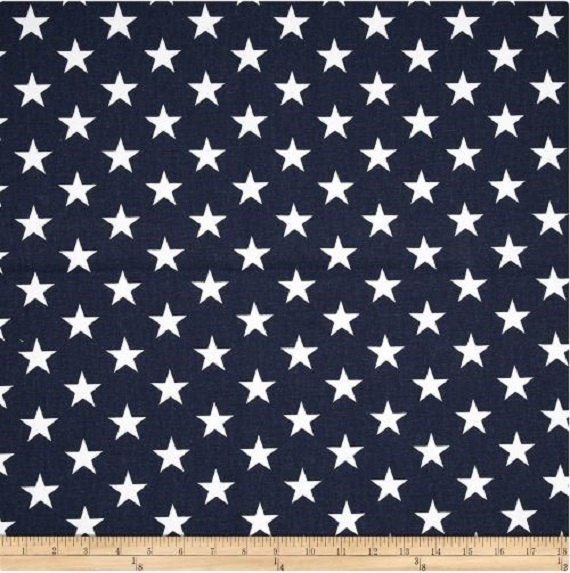 1 yard navy blue and white star fabric premier prints for Star fabric australia