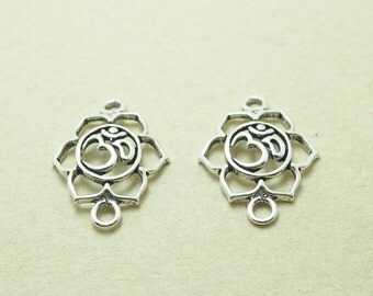 2 pieces Lotus Ohm Connector Charm, 925 Sterling Silver, Yoga Buddhist Jewelry Supplies - MI.22/PE27