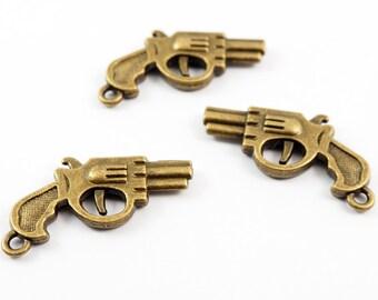 12 pcs - Antique Brass Tiny Cute Hand Gun Charms Pendant Findings - MAS.18