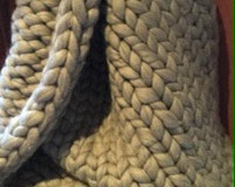 Chunky Merino Wool Blanket (grey)