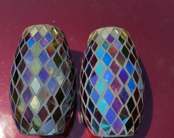 90s Stained Glass Mosaic Vase / Candle Holder / Van Gogh / Purple Mirrored Glass / Glass Mosaic Vase / Mirrored / Iridescent / Artisan