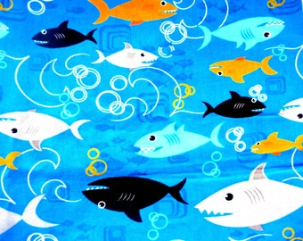 1 yard of colorful sharks swimming cotton fabric