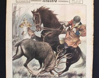 French Newspaper. Le Petit Journal Illustré. Color Illustration. Antique Ephemera. Mixed Media Art. French Vintage Journal. January 1, 1922
