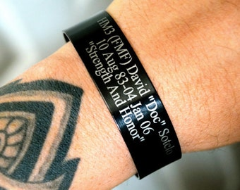 Black Memorial Bracelet (Customize your own) In Memory of Bracelet / KIA Bracelet / Remembrance Bracelet / Loss of Child / Loss of Loved One