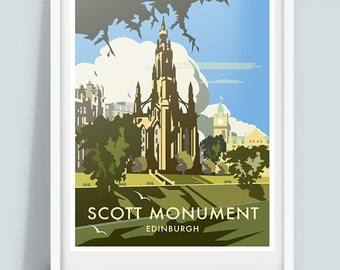 Scott Monument, Edinburgh Travel Poster