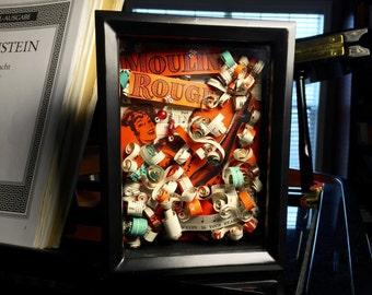 Moulin Rouge Shadowbox Art, Vintage Music Shadow Box Art