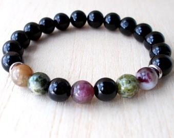Black Tourmaline Bracelet, Mala Bracelet, Buddhist Protection Bracelet, Energy Grounding Stones Root Chakra, Stress, Elbaite