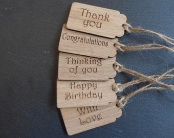 Oak Gift Tags, Packs of 5 Tags. Thank you, Congratulations, Thinking of you,Happy Birthday & With love Tags