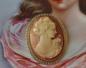 25% Sale Large Vintage French Cameo, Antique Plastic Cameo Pin, French Brooch, Antique Brooch, Cameo Portrait, Women's Pin, Brooch, Made in