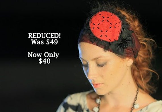 Formal Dressy Black & Red Headband/Elegant Headband /Wide Stretch/Winter Fashion/Black Bow/Pop Color/Sand Dollar/Religious Head Cover/Gift