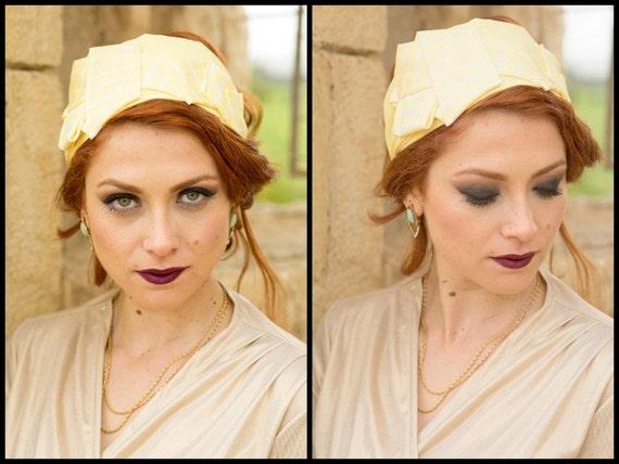 Christmas Gift For Her/Sun Yellow Church Hat Headband/Striped Head Cover/Wide Hairband/Lemon Yellow/Tichel/Casual Headband/Cruisewear/Yoga