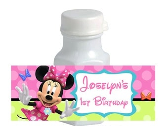 30 Minnie Mouse Bowtique Birthday Party Mini Bubble Stickers Labels