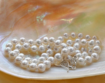 White pearl bridal necklace, real freshwater pearl necklace, classic silk knotted pearl necklace, adjustable pearl strand necklace