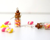 Earrings glass vial candy, glass vial, glass bottle polymer clay, mini bottle of multicolored candies
