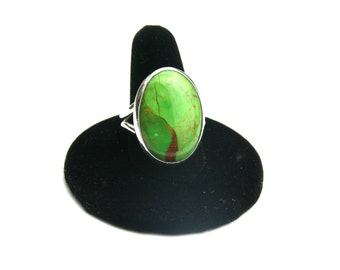 Mohave Green Turquoise and Sterling Silver ring