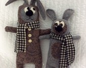 Salvage Rites - Sherlock and Watson - a pair of handcrafted felted wool pups, dog plushies, stuffed animals.