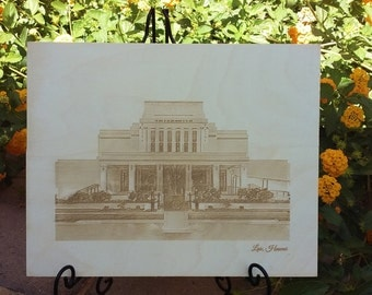 """Beautiful 8""""x10"""" laser etched wooden LDS temple picture"""