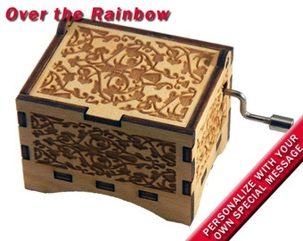 "Music Box, ""Over the Rainbow"", Laser Engraved Wood Hand Crank Music Box"