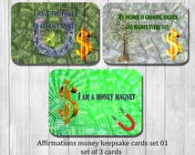 Money  affirmation cards - set of 3 Power Cards  - Wisdom Cards - Motivational, inspirational and affirmation Cards - attract money cards