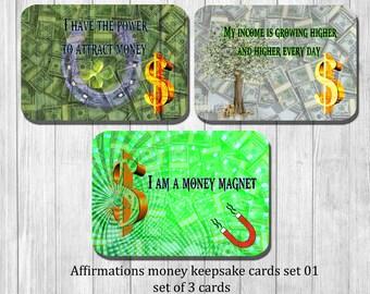 Geld bevestiging kaarten - set van 3 kaarten van de macht - wijsheid - motivationele, inspirerende en bevestiging kaarten - trekken geld kaarten