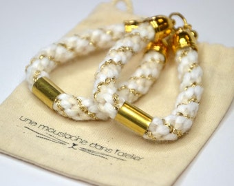 "Woven earrings ""White"""