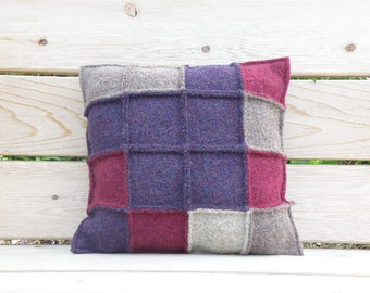 Hand Knit Pillow, Felted Wool, Patchwork Squares, Colorful Throw Pillow: Purple, Plum, Natural