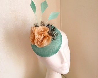 Small pillbox button hat fascinator mint beige aqua with feathers royal ascot derby sinamay