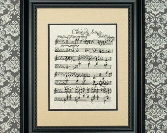 Clair de Lune by Claude Debussy Handwritten Sheet Music: Romantic Print