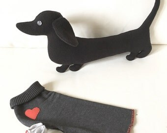 Unique Sausage dog plush (dachshund shaped stuffed animal, soft toy, doxie-limited edition, only one available)