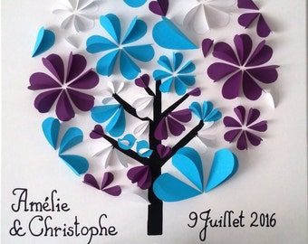 Guestbook - tree signature 3d-tree to fingerprints on a canvas cotton 50 x 50 cm