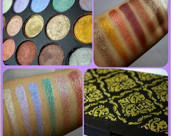 Preorder Warm & Pastels 15 Intense Foiled Eyeshadow Damask Palette 26mm pan size.MADE TO ORDER