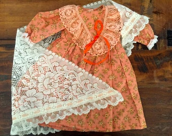 Vintage Dress and Shawl Doll Outfit
