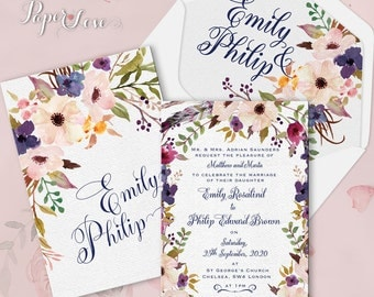 Watercolor Flowers Wedding Day Invitation With Band