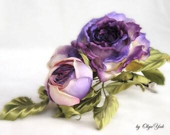 Silk Flowers Rose hairpiece Statement, violet silk rose hair clip, hat accessories, Valentine's Birthday gift. Handmade silk flowers. OY