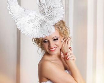 Wedding Bridal fascinator hat Wings. Wedding Fashion fascinator. Very Unique Bridal Head Piece. Feathers wings hat. Millinery Fashion.