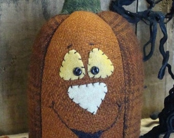 "Primitive PATTERN ""Trick or Treat"" wool applique pumpkin"