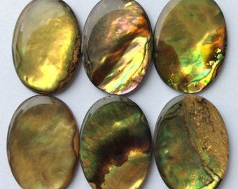 30x22mm Oval Golden Paua wafers - 6 pieces