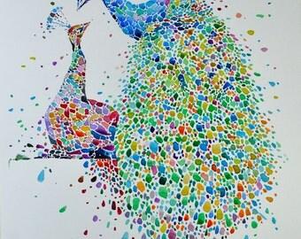 Peafowls. Watercolour painting. Original