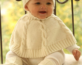 Poncho only,  Handknitted for babies and childern using merino wool superwash,  (not the hat, not the booties)