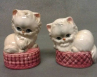 Beige Kitty Cats in Pink and Maroon Baskets Salt and Pepper Shaker Set