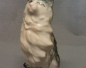 Grey and Tan Cat with Light Pink Nose Figurine