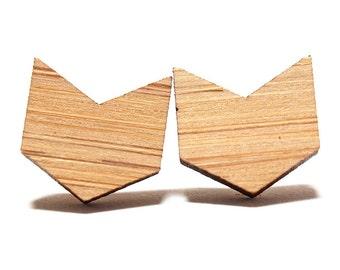 Chevron Bamboo Stud Earrings, Chevron Earrings, Chevron Studs, Wooden Earrings, Arrow Earrings, Geometric Earrings, Modern Earrings