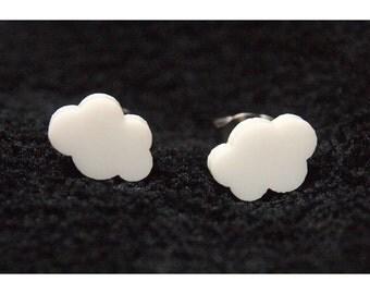 Cloud Earrings, White Cloud Studs, Cloud Stud Earrings, Fluffy Clouds, White Cloud Earrings, Rainy Day Earrings, Cloudy Day Earrings